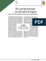 Giocando a programmare si impara a usare la logica - La Gazzetta del Mezzogiorno del 25 novembre 2016