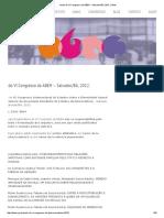 Anais Do VI Congresso Da ABEH – Salvador_BA, 2012