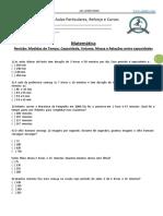Matemática - Revisão- Medidas de Tempo, Capacidade, Volume, Massa e Relações Entre Capacidades