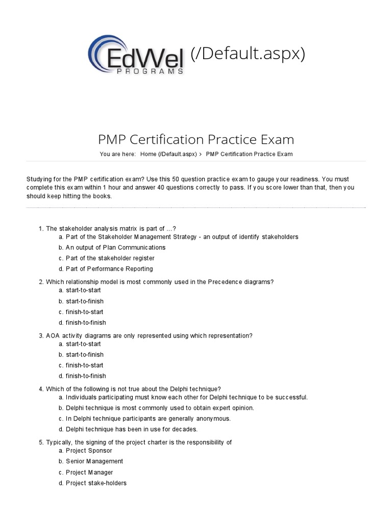 Pmp Certification Practice Exam Risk Procurement