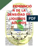3º Informe de Lab. de Química - Determinación de La Densidad de Líquidos y Sólidos