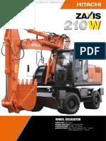 Catalog Hitachi Zaxis 3 Series 210w Wheel Excavator Specifications