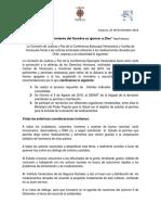 Comunicado Càritas de Venezuela y La Comisión de Justicia y Paz