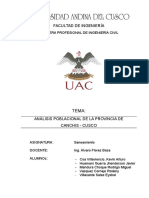 Análisis poblacional de la Provincia de Canchis