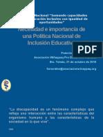 Necesidad e Importancia de Una Politica Nacional de Inclusión Educativa