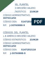 CÓDIGOS DEL PLANTEL.docx