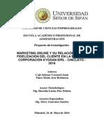 Marketing Online y Fidelizacion Del Cliente en La Empresa Corporacion Kyosan Eirl-chiclayo