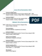 Actividades Fin de Semana 25,26 y 27 de Noviembre 2016