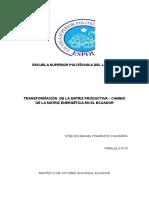 Transformación de La Matriz Productiva – Cambio de La Matriz Energética en El Ecuador