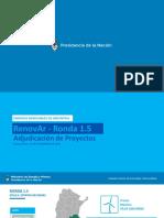 Se adjudicaron los proyectos RenovAr de la Ronda 1.5