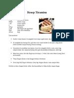 Resep Cheese Cake Dan Tiramissu