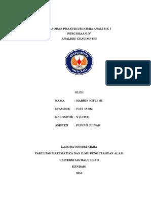 Laporan Praktikum Kimia Analitik I Analisis Gravimetri