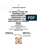 Comparative Study of Training and Development at Gramin Bank