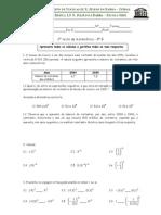 8º ano 3º  Teste de Matemática (A,B) (09-10) Potências de expoente inteiro, Potências de base 10, Escrita de Números em Notação Científica, Equações com deominadores Prfª Susana Ribeiro