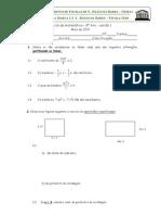 8º ano 5º Teste de Matemática (a,B) (2009) Monómios e Polinómios, Equações do 2º grau, Lugares Geométricos- Profª Susana Ribeiro