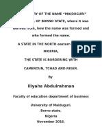 Origin and Meaning of Maiduguri