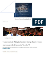 'I Cannot Do That' Philippine President Rodrigo Duterte Reverses Course on Promised 'Separation' From the US South China Morning Post