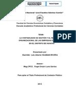 La Contabilidad de Gestión y El Rendimiento Organizacional de Las Empresas Comerciales