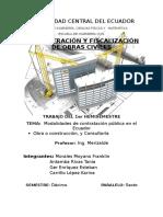 Clases de Contratos publicos para Construcción y Consultoria existentes en el Ecuador