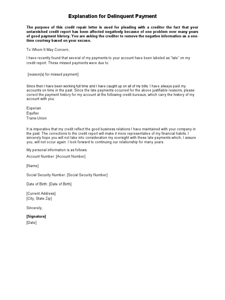 Sample Letter Explanation for Delinquent Payment – Letter of Explanation