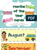 Months of the Year Calendar Cards Freebie