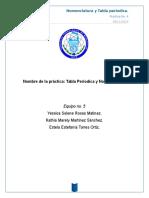 Química inorgánica reporte no. 4 tabla periódica y nomenclatura