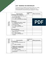 Checklist - Recepción