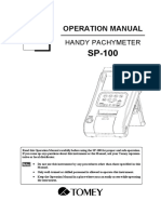 Tomey SP-100 Pachymeter - User Manual