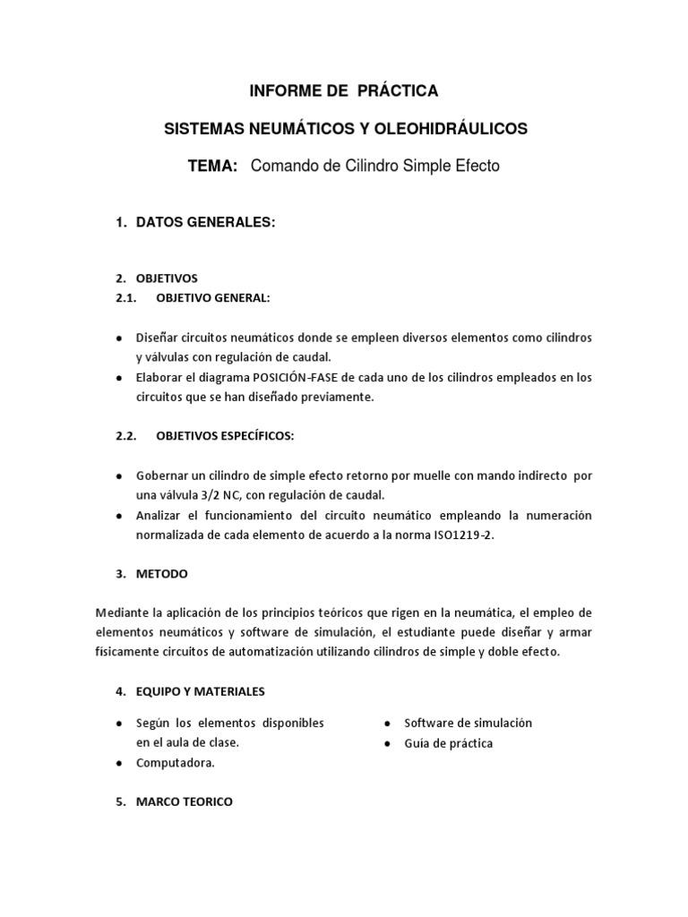 Circuito Neumatico Simple : Informe cilindro de simple efecto pdf