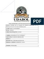 Control de La Calidad de Aditivos Empleados en La Preparacion de Un Fluido de Perforacion