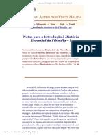 Notas Para a Introdução à História Essencial Da Filosofia - I