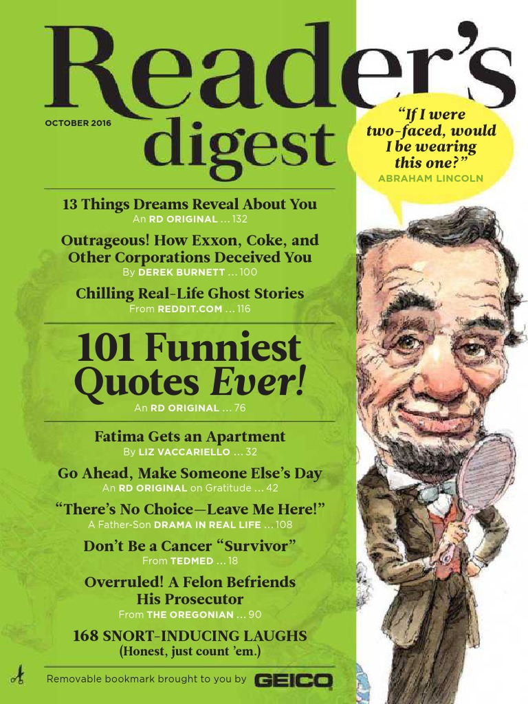 Reader's Digest - October 2016 | Coupon | Fee