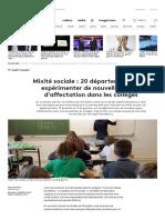 Mixité Sociale _ 20 Départements Vont Expérimenter de Nouvelles Règles d'Affectation Dans Les Collèges