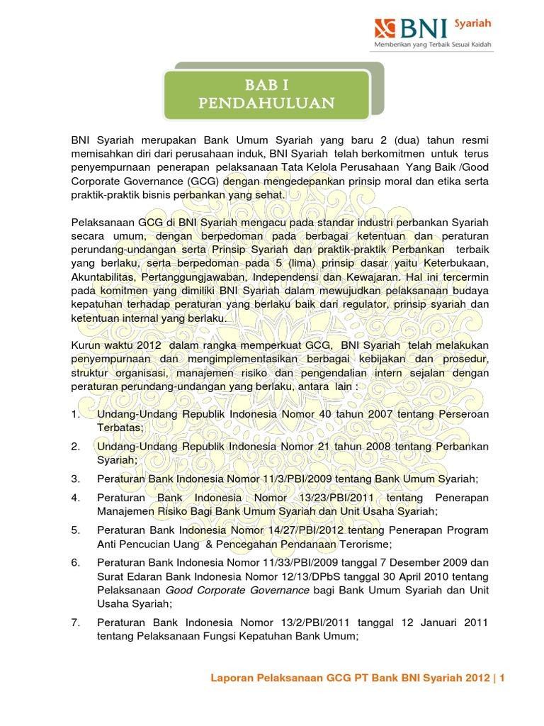 landasan bank bni dalam penerapan gcg View notes - analisa penerapan gcg bni from accounting 18956ec at ipb analisa penerapan good corporate governance pada pt bank negara indonesia (persero) tbk rian ikmal darmawan.