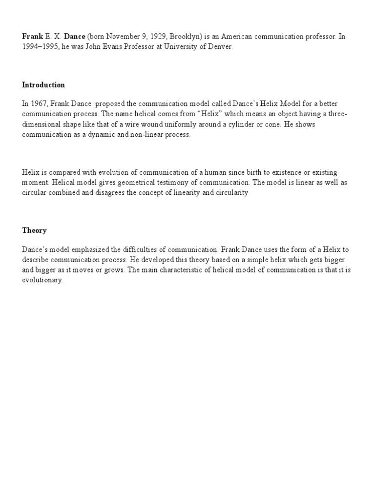 dance helical model of communication