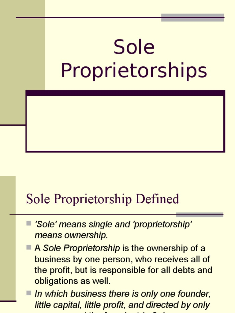 sole proprietorships | sole proprietorship | business