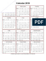 Year 2016 Calendar – Romania