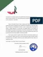 Mensaje de condolencias SCCA Jose Marti