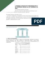 Transcripción de Formas Legales de Organizacion y Constitucion de Empresa Segun La Ley General de Sociedad n