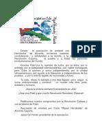 Mensaje de Reconocimiento a Fidel desde Alicante