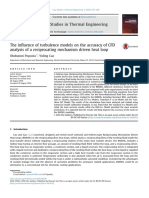 The Influence of Turbulence Models on the Accuracy of CFD Analysis of a Reciprocating Mechanism Driven Heat Loop