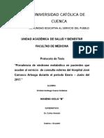 Prevalencia de síndrome metabólico en pacientes que acuden al servicio  de consulta externa del Hospital José Carrasco Arteaga durante el periodo Enero – Junio del 2017.