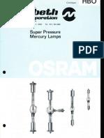 Osram HBO Super Pressure Mercury Lamps Catalog 1977
