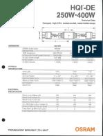 Osram HQI-DE 250 & 400w Product Information Bulletin