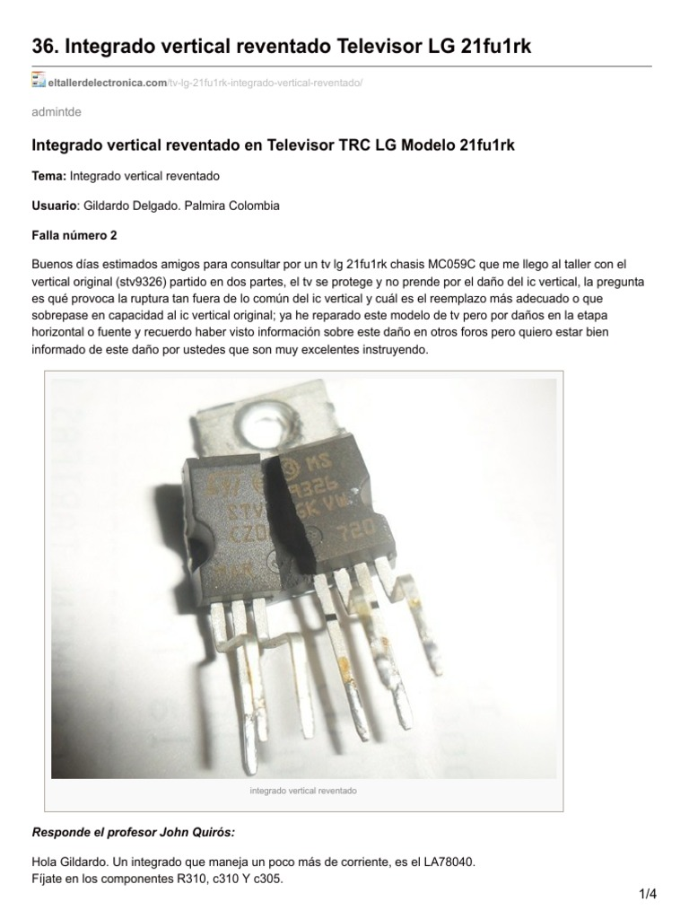 36 Integrado Vertical Reventado Televisor Lg 21fu1rkpdf Electronic Circuit Diagram Tv Using La78041 La78040