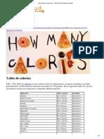 Calorías de Los Alimentos - Tabla Con Numerosos Alimentos