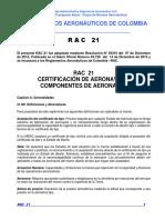 RAC 21 - Certificación de Aeronaves y Componentes de Aeronaves