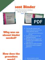 absent binder - classroom artifact