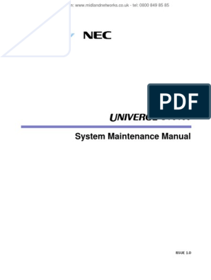 SV9100 System Maintenance Manual: ISSUE 1 0