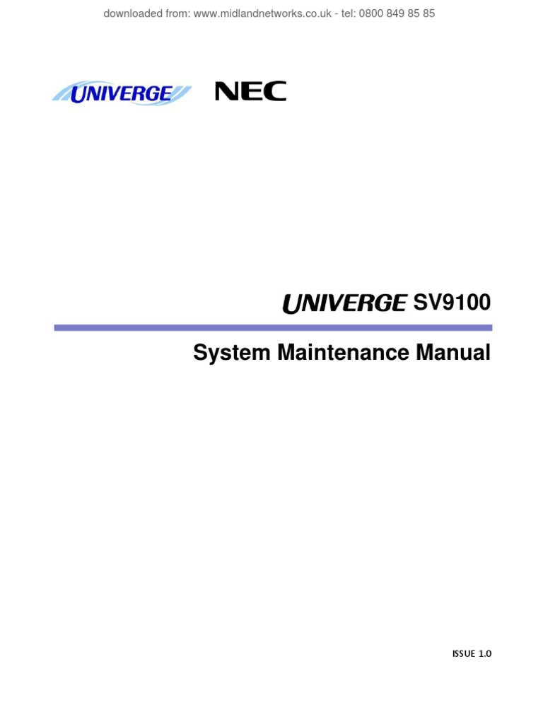 Userguides_NEC_SV9100 System Maintenance Manual v1 0